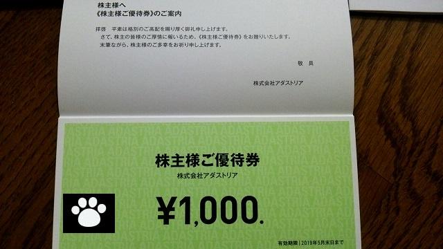 アダストリア2685株主優待3