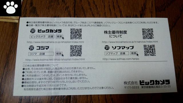 ビックカメラ3048株主優待4