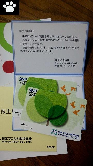 日本フエルト3512株主優待3
