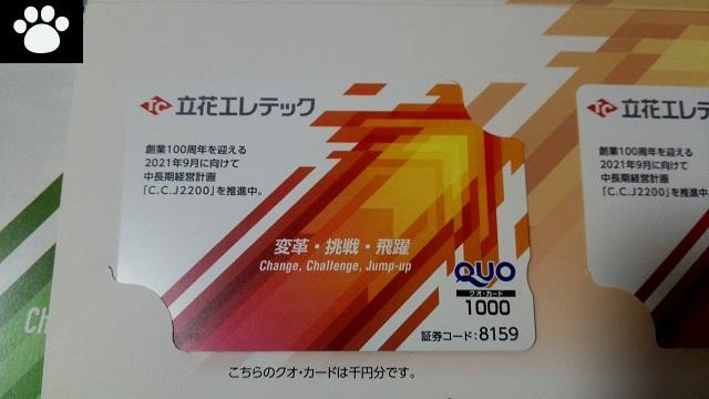 立花エレテック8159株主優待3
