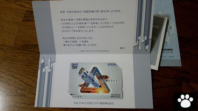 カナレ電気5819株主優待2