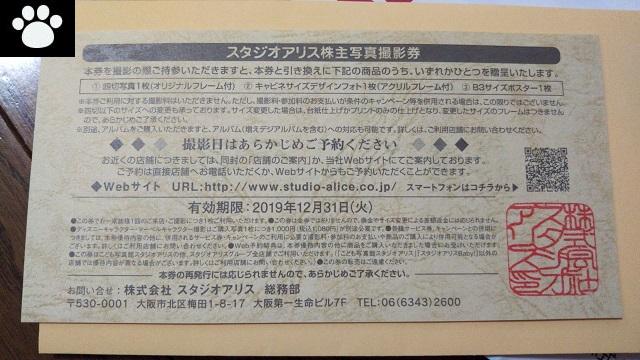 スタジオアリス2305株主優待3