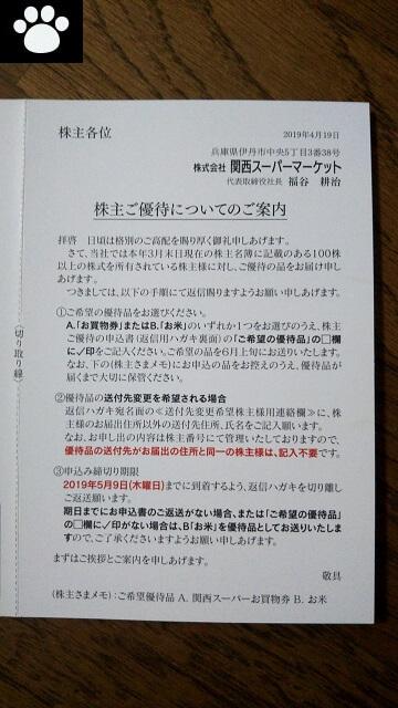 関西スーパーマーケット9919株主優待2019062102