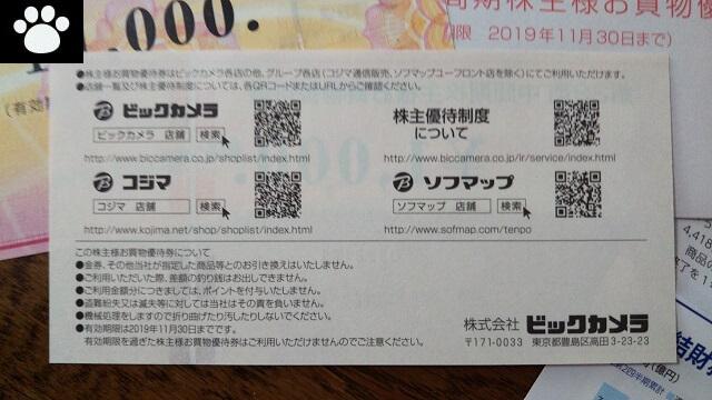 ビックカメラ3048株主優待2019070703
