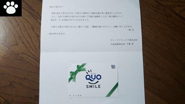ディーブイエックス3079株主優待2019072702