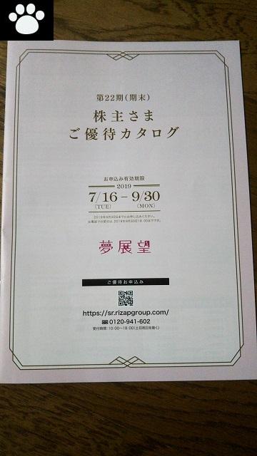 夢展望3185株主優待2019092901